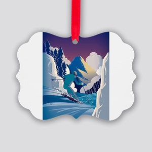 Graphic Skiing Down the Mountain Picture Ornament