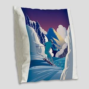 Graphic Skiing Down the Mounta Burlap Throw Pillow