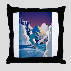 Graphic Skiing Down the Mountain Throw Pillow