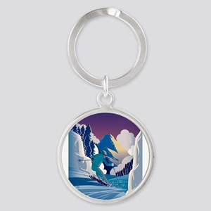 Graphic Skiing Down the Mountain Keychains