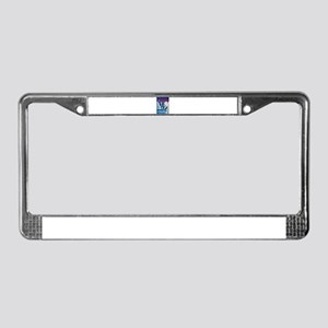 Graphic Skiing Down the Mounta License Plate Frame