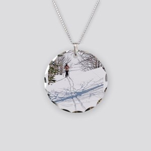 Lone Cross Country Skier Necklace Circle Charm