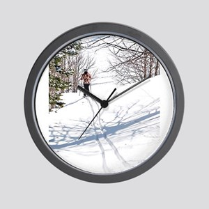Lone Cross Country Skier Wall Clock