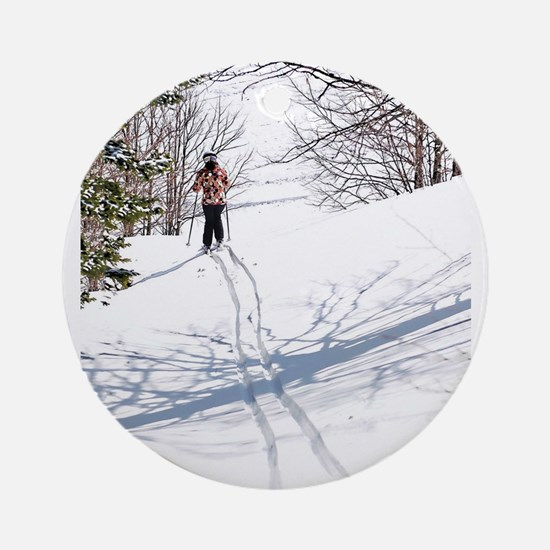 Lone Cross Country Skier Round Ornament