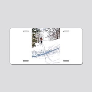 Lone Cross Country Skier Aluminum License Plate