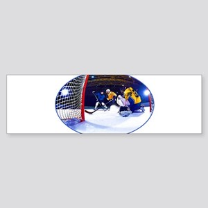Ice Hockey Battle Through the Cage Bumper Sticker