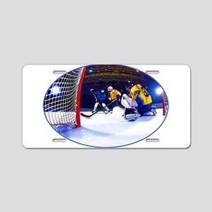 Ice Hockey Battle Through t Aluminum License Plate