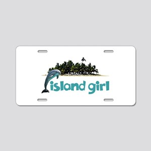 Island Girl With Dolphin Aluminum License Plate