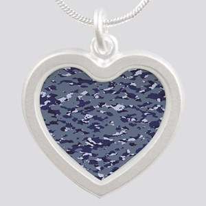 Camouflage: Naval (NWU I Col Silver Heart Necklace