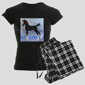 Black Christmas Draft Horse Women's Dark Pajamas