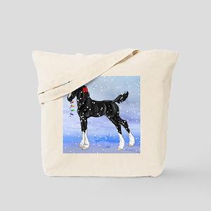 Black Christmas Draft Horse Foal in Snow Tote Bag