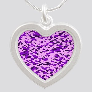 Camouflage: Purple Silver Heart Necklace