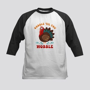 Gobble Wobble Turkey Kids Baseball Jersey