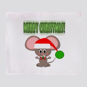 Cute Christmas Holiday Mouse with Santa Hat Throw