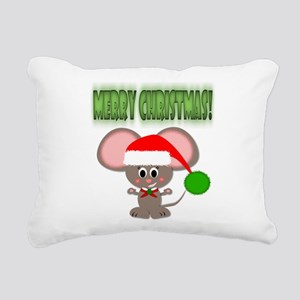 Cute Christmas Holiday Mouse with Santa Hat Rectan