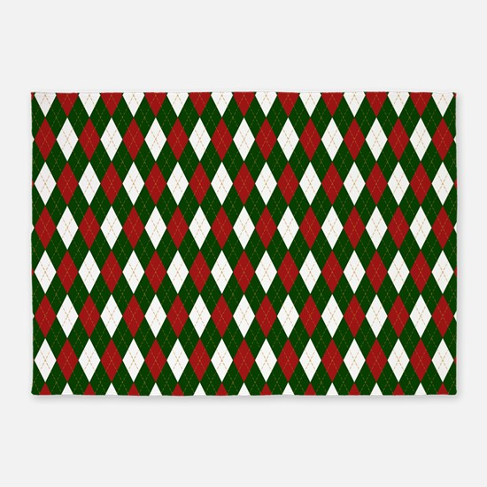 Green and Red Argyle Harlequin Diamond Pattern 5'x