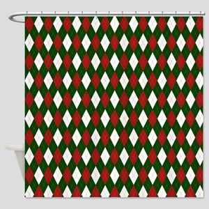 Green and Red Argyle Harlequin Diamond Pattern Sho