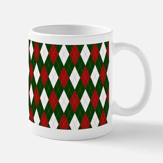 Green and Red Argyle Harlequin Diamond Pattern Mug