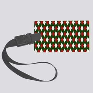 Green and Red Argyle Harlequin Diamond Pattern Lug