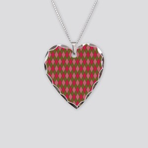 Sugar and Spice Pink and Green Argyle Necklace