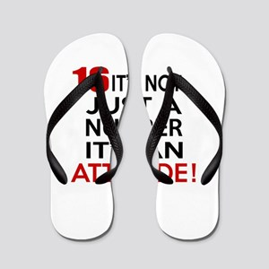 16 It Is Not Just a Number Birthday Des Flip Flops