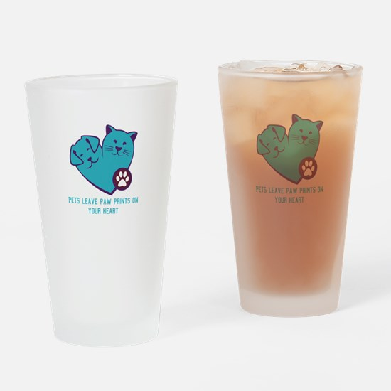 pets leave paw prints on your heart Drinking Glass