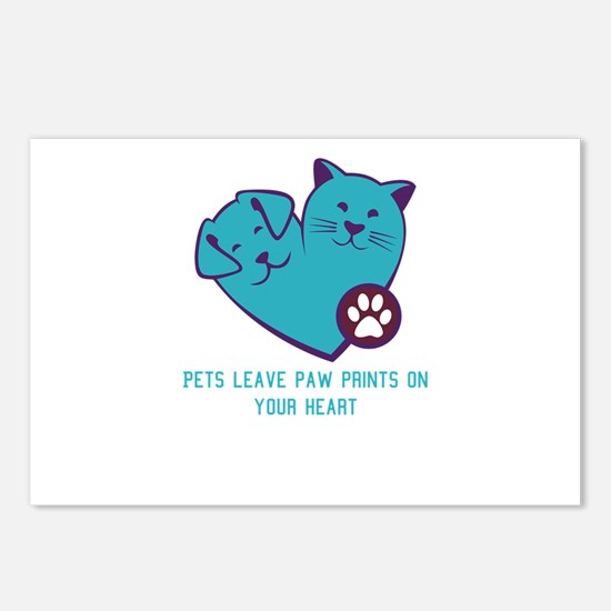 pets leave paw prints on Postcards (Package of 8)