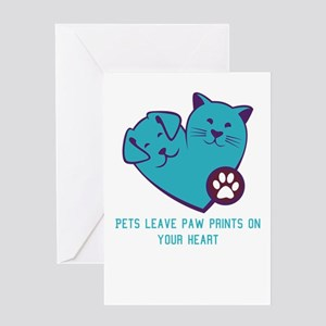 pets leave paw prints on your heart Greeting Cards