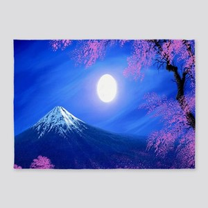 Moonlit Mountain Scenic Landscape 5'x7'Area Rug