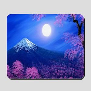 Moonlit Mountain Scenic Landscape Mousepad