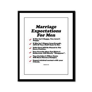 Marriage Expectations For Men Framed Panel Print