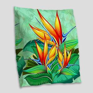 Bird of Paradise Flower Exotic Nature Burlap Throw