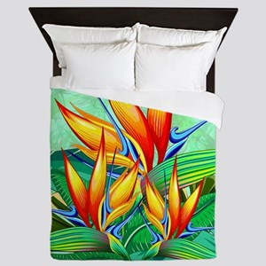 Bird of Paradise Flower Exotic Nature Queen Duvet