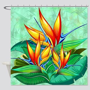Bird of Paradise Flower Exotic Nature Shower Curta