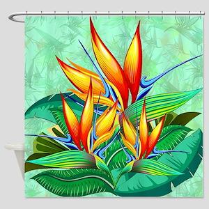 Bird Of Paradise Flower Exotic Nature Shower Curta