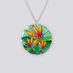 Bird of Paradise Flower Exotic Nature Necklace Cir