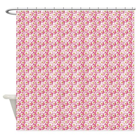 pink green and white daisy pattern shower curtain by soaringsimple. Black Bedroom Furniture Sets. Home Design Ideas