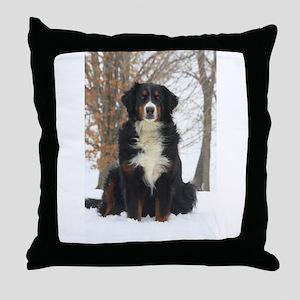 Berner in Snow Throw Pillow