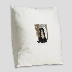 Berner in Snow Burlap Throw Pillow