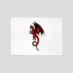 Dragon red-black 5'x7'Area Rug