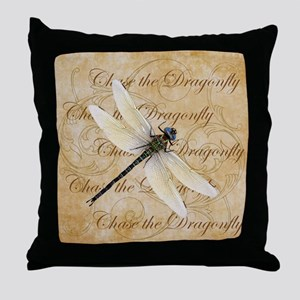 White Dragonfy Collage Throw Pillow
