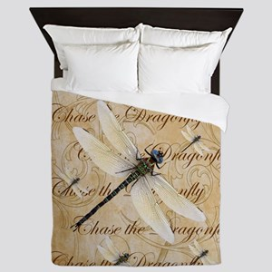 White Dragonfy Collage Queen Duvet