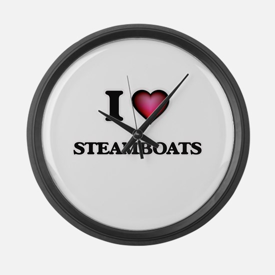 I love Steamboats Large Wall Clock