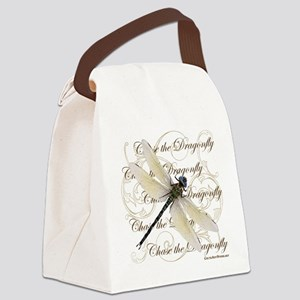 White Dragonfy Collage Canvas Lunch Bag