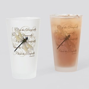 White Dragonfy Collage Drinking Glass