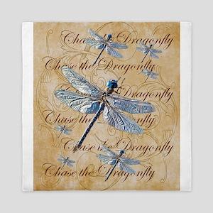 Blue Dragonfly Collage Queen Duvet