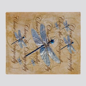 Blue Dragonfly Collage Throw Blanket