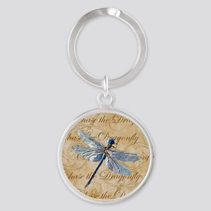 Blue Dragonfly Collage Keychains