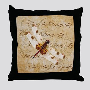 White & Orange Dragonfly Collage Throw Pillow
