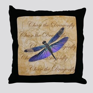 Purple Dragonfly Collage Throw Pillow